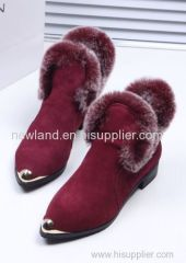 genuine cow split ankle boots for women