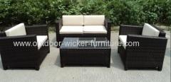 Patio rattan furniture knockdown sofa set