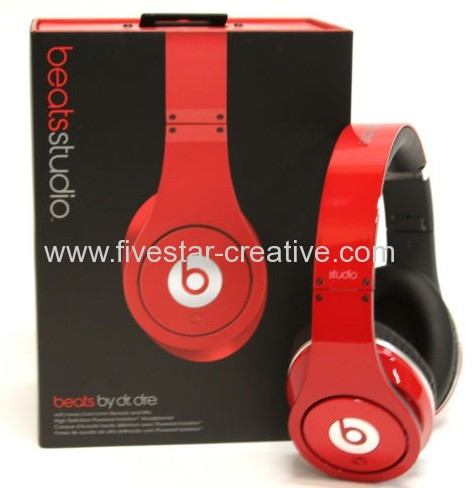 2013 Beats by Dre Studio High Definition Noise-Canceling Headphones Red