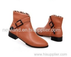women PU leather low heel ankle boots