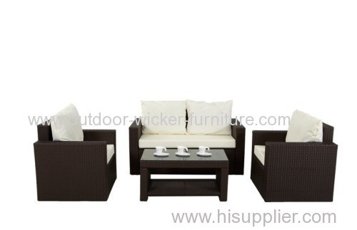 Patio knockdown rattan sofa set