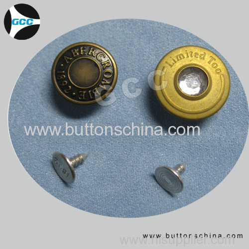 Jean Button with aluminu pin