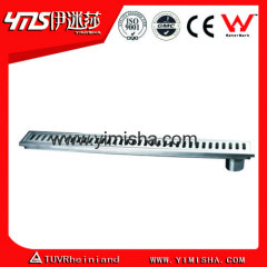 Linear Long Stainless Steel Floor Drain with Rectangular Holes above Cover with outlet diameter 45mm