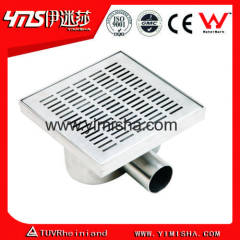 Square Stainless Steel Floor Drain for Shower Room with Outlet Diameter 40mm