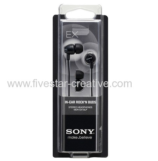 Sony MDR-EX10LP Black Ex Earbuds In-Ear Headphones for MP3