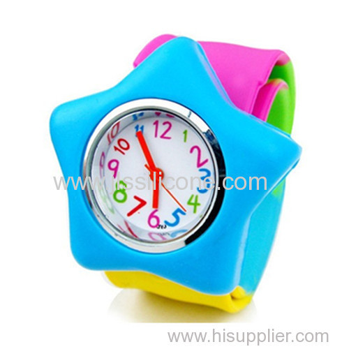Colorful design Silicone Slap Watch with Star Shaped Design for Woman and Kids