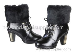 2013 lady cow leahther thicky heel high heel ankle boots