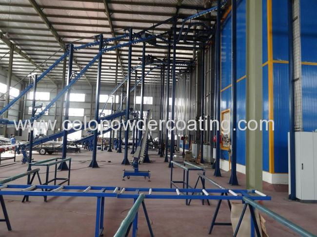 Powder coating line for aluminium profile in vertical hanging