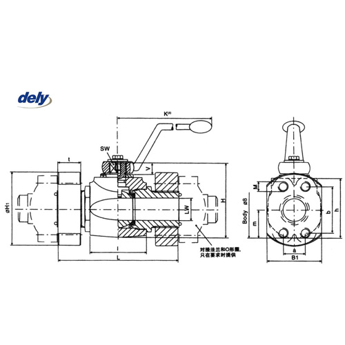 BKH-SAE, MKH-SAE 2 way high pressure ball valve flange connector
