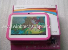 New Kids Cartoon Tablet PC Pre-installed Educational Apps & 7 inch Android 4.1 Dual Cam Wifi Pink/Blue/Orange/Green Case