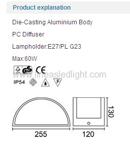 Wall lights E27 PL G23 IP54