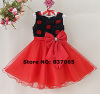 Hot Sale Baby Girls Flower Dress Red Rose Flower Bow New Year Dress for Kids Wear