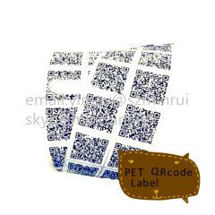 Custom White PET vinyl stickers, PET QRcode Label, PET Vinyl Sticker