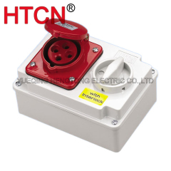 industrial cee switch with interlock socket 3phase 4pole ip44