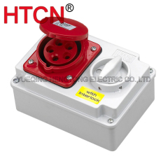 industrial cee switch with interlock socket 3phase 5pole 3p+n+e ip44