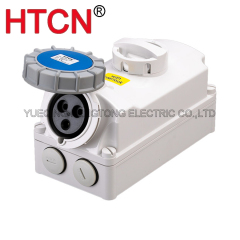industrial cee switch with interlock socket 32a single phase 3pole 2p+e ip67