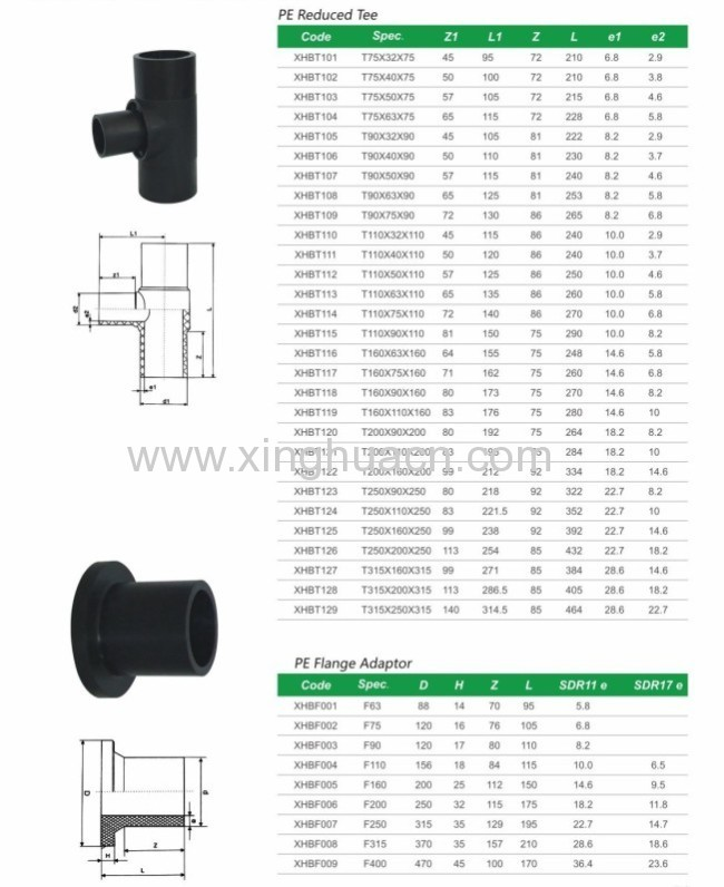 high quality HDPE reduced tee