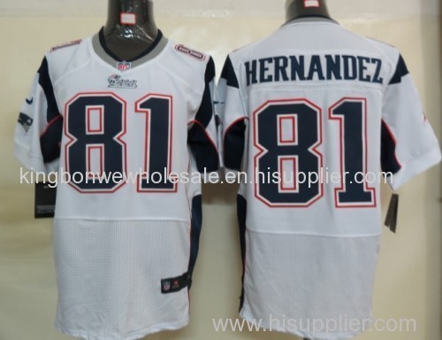 more photos 6aa81 a0326 New England Patriots 81 Hernandez White NFL Elite Jersey ...