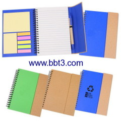 Promotional eco notebook with sticky notes and ballpen