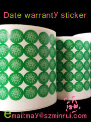 Custom date warranty sticker with rectangle shape