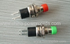 Push button switches with green or redt colour
