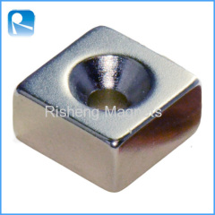 Neodymium Permanent Magnetics Block with Countersunk Hole