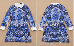 Female blue and white porcelain printing embroidery lapel long sleeve big yards dress