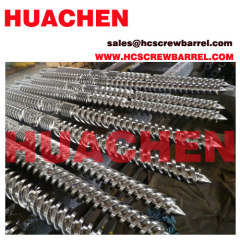 Conical twin screw barrel for sheet profile tube pipe