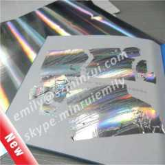 New Special Glossy Holographic Destructible Vinyl,Glossy Silver Column Holographic Destructive Vinyl Materials,Hologram