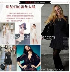 Women lace long sleeve round collar princess dress skirt
