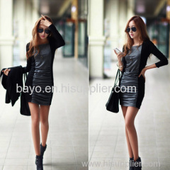 Women pure color long sleeve round collar stitching pencil skirt