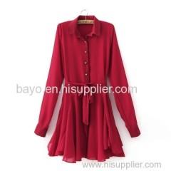 Women's fashion fold back the leisure long-sleeved shirt collar women's dress