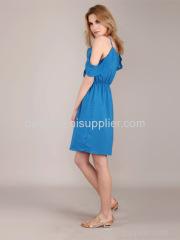 Women's fashion leisure condole sexy v-neck strapless dress