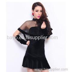 Women sexy socialite short-sleeved white gauze round collar perspective shawl cloak velvet fishtail dress