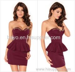 Women's fashion wipes bosom v-neck rivet punk dress sexy miniskirt of tall waist