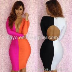 Women sexy splicing bump color dress deep v-neck night dress