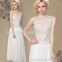 Women sleeveless chiffon special embroidered sleeveless white lapels abstract design even the dress skirt