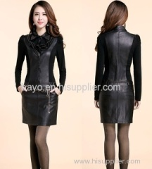 Women slimming belt drilling package hip long sleeve polo single-breasted belt belt garment leather skirt