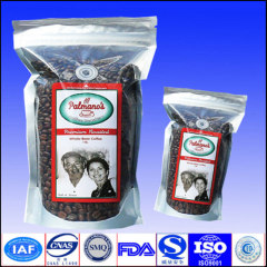 stand up coffee bag with zipper and valve
