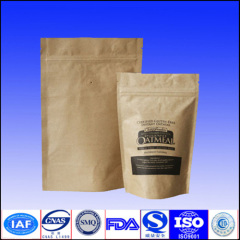 kraft paper coffee bags with valve and zipper