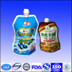 liquid stand up food shape pouch with spout