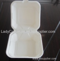 biodegradable tableware/disposable sugarcane clamshell/bagasse box/paper pulp box