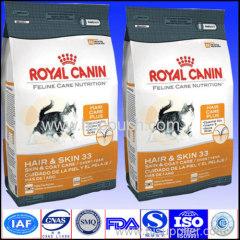 OEM custom made side gusseted plastic pet food bag with ziplock or handle 1-20kg