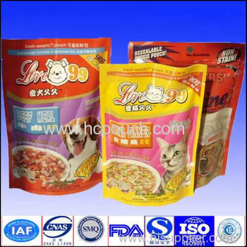 High quality stand up pet food bags with zipper top