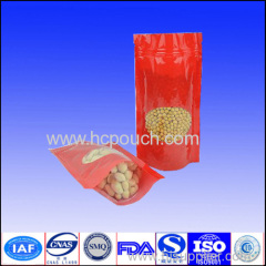 Dried fruit and nutstand up ziplock packaging bags with front clear window