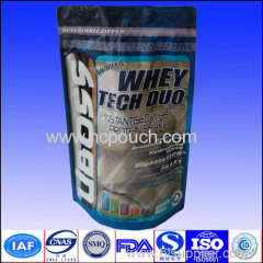 500g 1kg Doypack whey protein packaging stand up foil bag with zipper