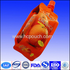 Plastic doypack with spout for juice with custom printing