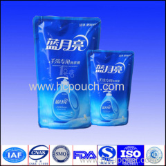2L stand up bags for liquid detergent with zipper