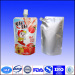 Liquid metalized stand up pouch with spout