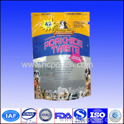 aluminum foil stand up pouch with tear notch